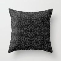 gray pattern Throw Pillows featuring Slate Gray Black Pattern by 2sweet4words Designs
