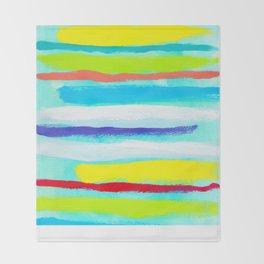 Ocean Blue Summer blue abstract painting stripes pattern beach tropical holiday california hawaii Throw Blanket