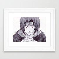 sasuke Framed Art Prints featuring Sasuke Uchiha by DeMoose Art