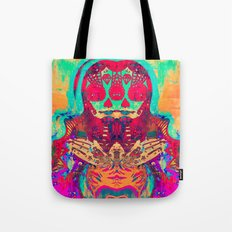 Eye of Mary - painting - tattoo - red, green orange purple pink Tote Bag