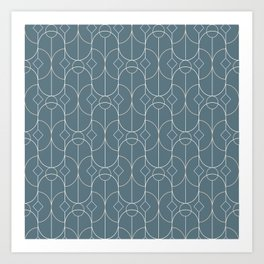 Contemporary Bowed Symmetry in Teal Art Print