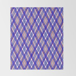 Blue, pink tartan plaid. Throw Blanket