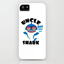 Uncle Shark design Gift - Cute Baby Shark Matching Family iPhone Case