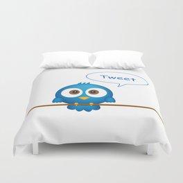Blue bird tweeting cartoon Duvet Cover