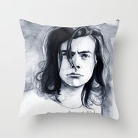 coconutwishes Throw Pillows featuring Harry Watercolors B/N by Coconut Wishes