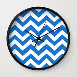 Navy blue (Crayola) - turquoise color - Zigzag Chevron Pattern Wall Clock