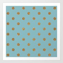 Light Sky Blue3 Gold Glitter Dot Pattern Art Print
