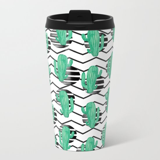 cacti + black Metal Travel Mug