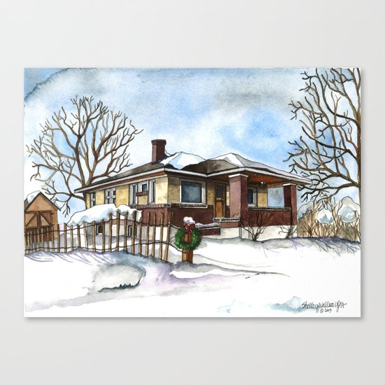 A Bungalow in the Country Canvas Print