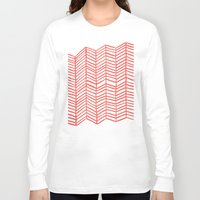 herringbone Long Sleeve T-shirts featuring Coral Herringbone by Cat Coquillette