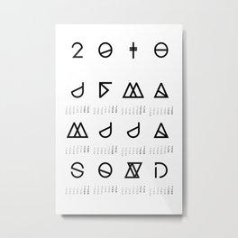 2018 Geometrical Calendar white Metal Print