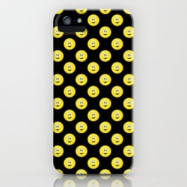 Yellow Smiley Face Black Background iPhone Case