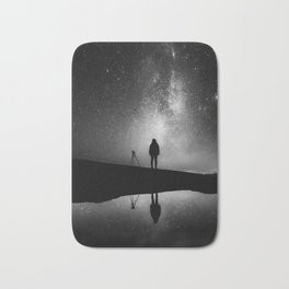 Finland and Galaxy (Black and White) Bath Mat
