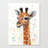 baby Canvas Prints featuring Giraffe Baby by Olechka