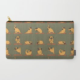 Pug Yoga In Khaki Carry-All Pouch