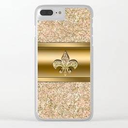 Pink & Gold Glitter Fleur De Lis Clear iPhone Case