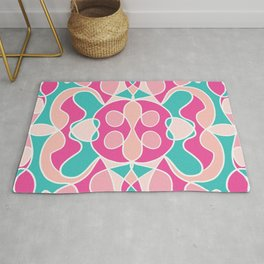 Girly Modern Pink Coral Teal Abstract Geometric Rug