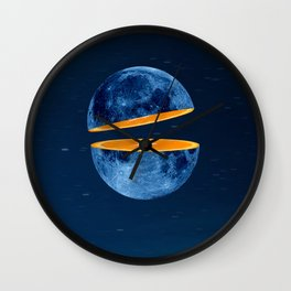 Moon and orange in the sky Wall Clock