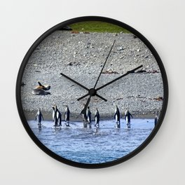 Paddling Penguins Wall Clock