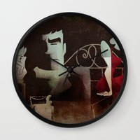 noir Wall Clocks featuring noir by michael lombardi
