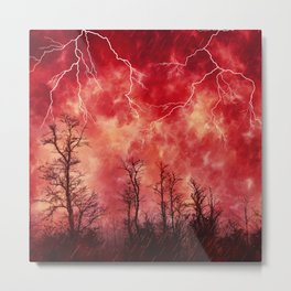 Mysterious Fiery Skies with Lightning Metal Print