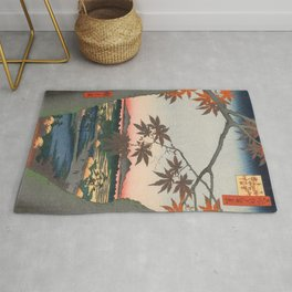 Maple Trees at Autumn Shrine Vintage Ukiyo-e Japanese Art Rug