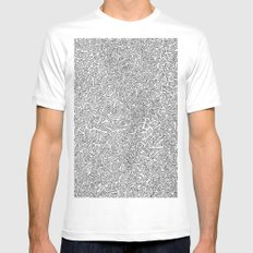 2D Pizza MEDIUM White Mens Fitted Tee