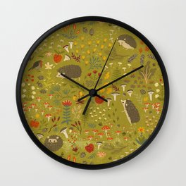 Hedgehog Meadow Wall Clock