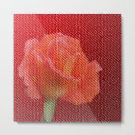 orange single rose bloom in small mosaic on a colored background of small hexagons Metal Print