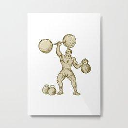 Strongman Lifting Barbell Kettlebell Etching Metal Print