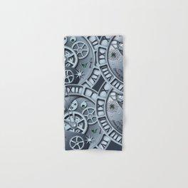 Steampunk clock silver Hand & Bath Towel