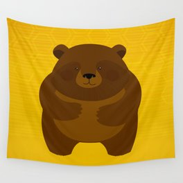 Bees and Bear by Friztin Wall Tapestry