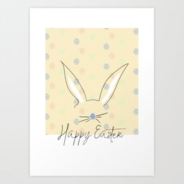 Happy Easter Postcard Bunny Ears #eastergift Art Print
