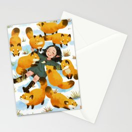 Snuggles with foxes Stationery Cards