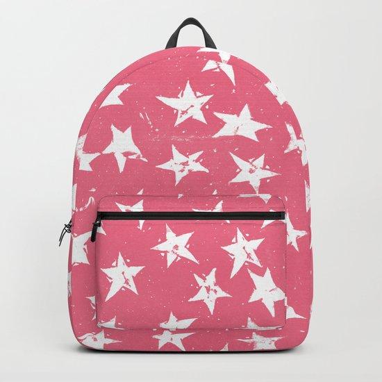 Linocut Stars- Blush & White Backpack