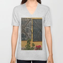 Old house with red roses Unisex V-Neck