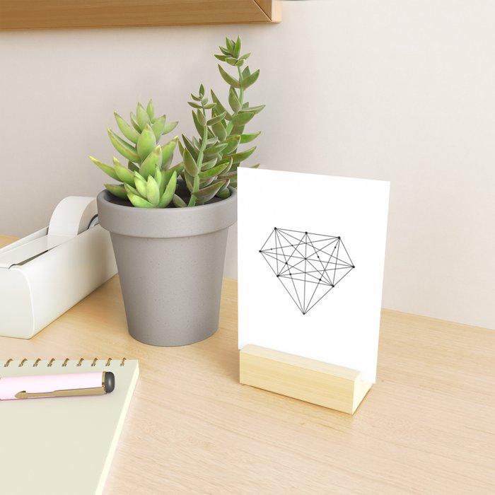 Geometric Diamond black-white poster design lowpoly fashion home decor canvas wall art Mini Art Print
