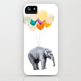 Dreaming Elephant Flying, Animal Zoo Nursery Photo, Large Printable Birthday Party Wall Art, Ballons iPhone Case