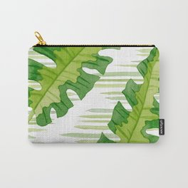 Tropical Leaves Watercolor Painting Carry-All Pouch