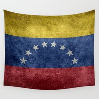 1989 Wall Tapestries featuring The national flag of the Bolivarian Republic of Venezuela -  Vintage version by Bruce Stanfield