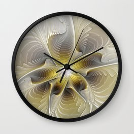 Gold And Silver, Abstract Flower Fractal Wall Clock