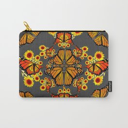 GREY COLOR SUNFLOWERS & MONARCH BUTTERFLY ABSTRACT Carry-All Pouch