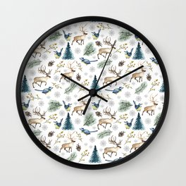 Winter forest. White pattern Wall Clock