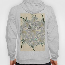 WHITE  NIGHT BLOOMING TROPICAL CEREUS  ON CREAM ART Hoody
