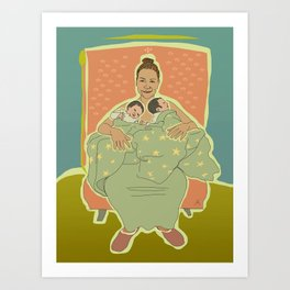 Mother with Twins Art Print
