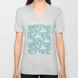 Traditional Hand Drawn Japanese Wave Ink Unisex V-Neck
