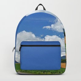 field economy hay bales trees sky road Backpack