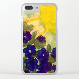 Sun on Blue Flowers Clear iPhone Case