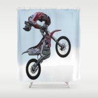 motorbike Shower Curtains featuring Motorbike-stunt-rider by store2u