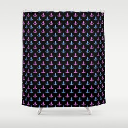Blue and Pink Anchors on Black Shower Curtain